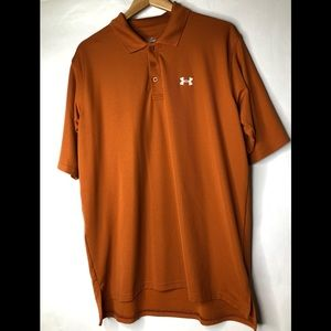 Under Armour Polo Golf Shirt Men's Large Orange.